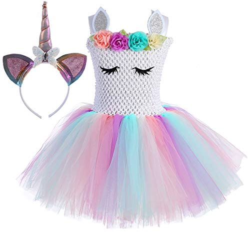Tutu Dreams Unicorn Tutu for Toddler Girls Birthday Halloween Unicorn Dress Up Costumes (White Rainbow-2, S) -