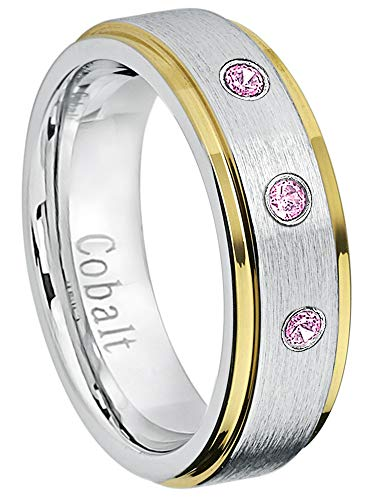- Jewelry Avalanche 6MM Comfort Fit Brushed 2-Tone Yellow Gold Edge Women's Cobalt Chrome Wedding Band - 0.21ctw Pink Tourmaline 3-Stone Cobalt Ring - October Birthstone Ring -12
