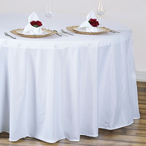 "BalsaCircle 120"" Round Polyester Tablecloth Wedding Table Linens - White"