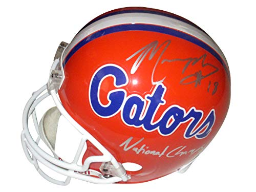 - University of Florida Gators Louis Murphy Autographed Hand Signed UF Gators Riddell Full Size Football Helmet with National Champs Inscription and Proof Photo of Signing, COA, Oakland Raiders