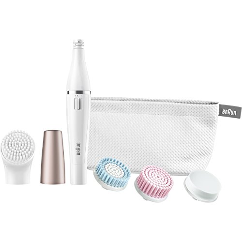Price comparison product image Braun Face 851 - Mini-Facial Electric Hair Removal Epilator for Women with 4 Facial Cleansing Brushes and Beauty Pouch