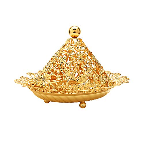 Gold Candy Bowl Plate Dish with Lid Decorative Serving Platter for Fruits