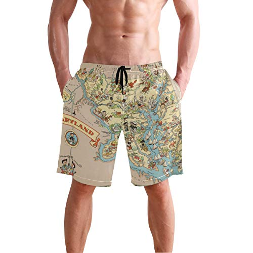 XiangHeFu Men's Beach Shorts Maryland State Map Cartoon Pattern Swim Trunk with Pockets