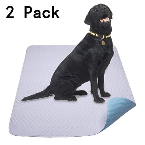 (Washable Reusable Dog Training Pad 2 Pack-Extra Thick,Superior Absorbent,100% Waterproof,Odor Control-for Puppy Potty Training, Incontinence,Senior Diabetic Problems,Travel,Daily Night Use-Size 28×36 )