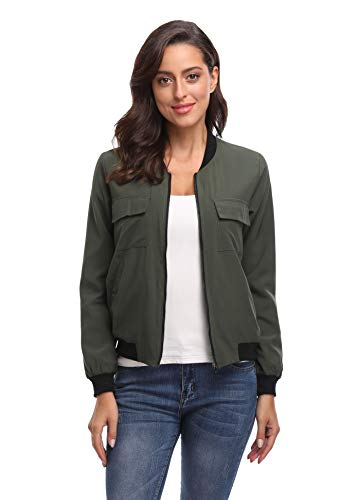MISS MOLY Women's Classic Zipper Bomber Jacket with Pockets Lightweight Thin Bomber Outwear Jacket(Army Green-XS)