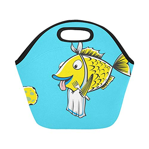 Insulated Neoprene Lunch Bag Fishing Fish Primer Retro Cartoon Large Size Reusable Thermal Thick Lunch Tote Bags For Lunch Boxes For Outdoors,work, Office, School