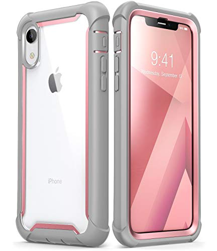 iPhone XR Case, i-Blason [Ares] Full-Body Rugged Clear Bumper Case with Built-in Screen Protector for Apple iPhone XR 6.1 Inch (2018 Release)(Pink)
