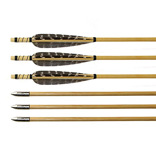 (Huntingdoor 10 Pack Wooden Shaft Arrows Pheasant Feather Target Archery Practice Arrows with Field Point for 40-55 LB Recurve Bow)
