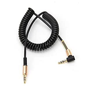 3.5mm Male to Male Stereo Audio Aux Cable 2M for iphone samsung galaxy and other devices 90 Degree angle - black
