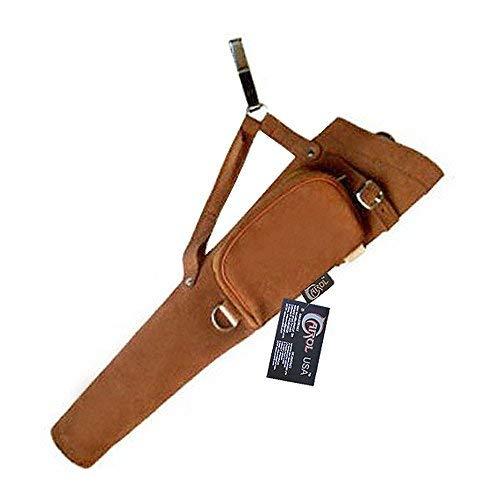 (Carol Traditional Side/Hip/Belt/Waist Suede Leather Arrow Quiver AQ117 (RH) Brown )