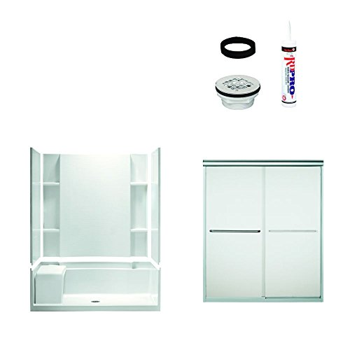 - Sterling Plumbing 7229-5475SF Accord Shower Package 60-Inch x 36-Inch x 73-1/2-Inch with Frosted Door Drain Kit, White/Chrome