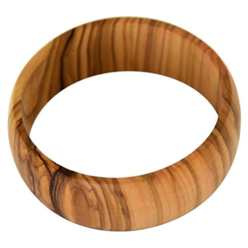 Latitudes Wide Olive Wood Bangle - Large, 2.8 inch Diameter
