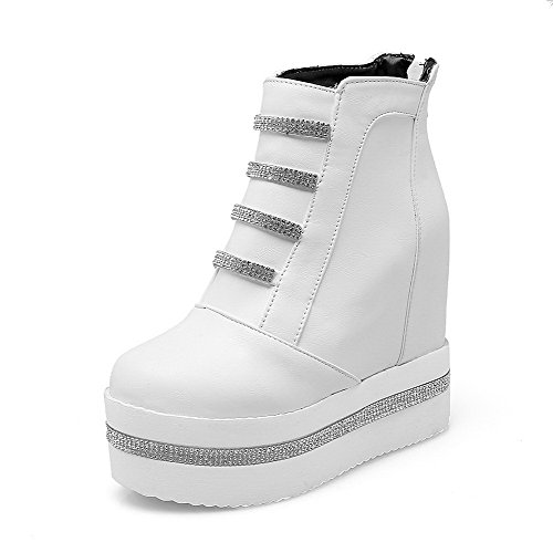 Soft Closed Women's Toe Material White Round Solid Zipper Boots Heels High AgooLar w0X4OqO
