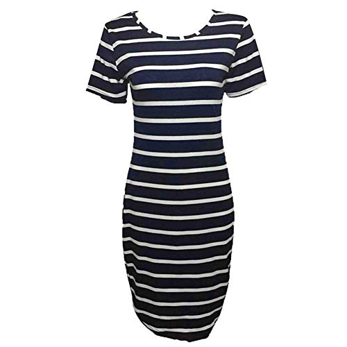 iLUGU O-Neck Short Sleeve Knee-Length Dress for Women Horizontal Stripes Pencil Dress Tunic Dresses for Women -
