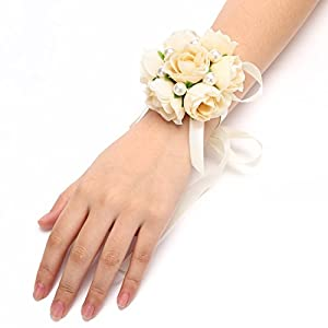 FAYBOX Girl Bridesmaid Wedding Wrist Corsage Party Prom Hand Flower Decor Pack of 2 Champagne 57