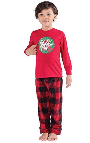 PajamaGram Looney Tunes Long Sleeve Fleece Big Boys Pajamas, Red/Black, Youth 8