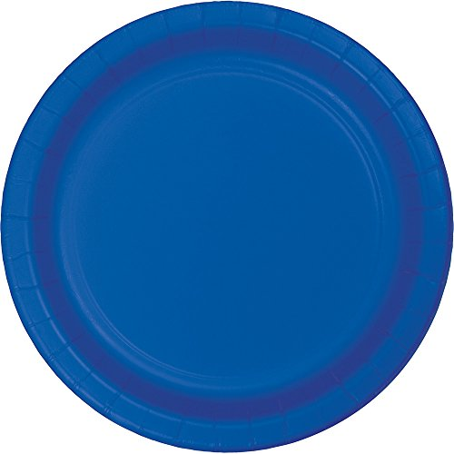 Creative Converting 317375 Touch of Color 96 Count Dessert/Small Paper Plates, Cobalt