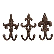 Shabby Chic Ornate Iron Hook - Classic Wall Mounted Hook for Coat, Hat, Scarf - Set of 3