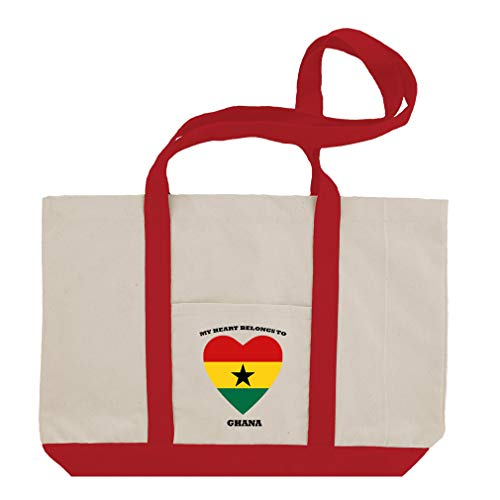 Love Soccer Heart Ghana Style 1 Cotton Canvas Boat Tote Bag Tote - Red