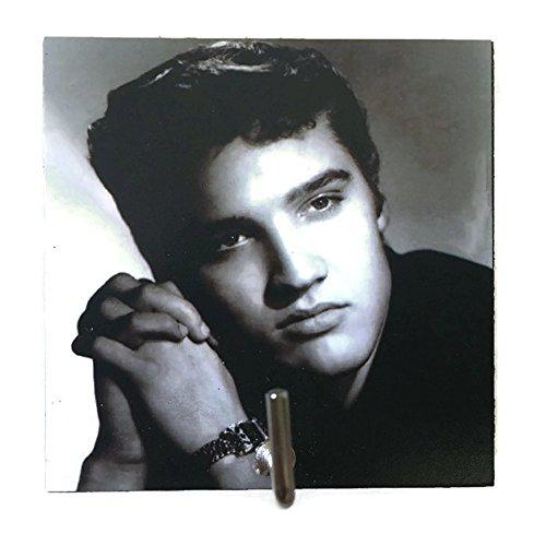 Agility Bathroom Wall Hanger Hat Bag Key Adhesive Wood Hook Vintage Black Elvis Presley's Photo