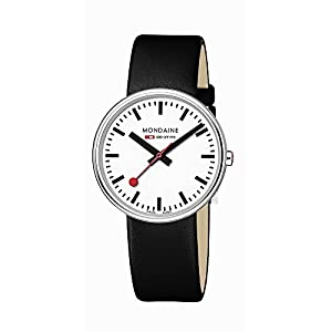Mondaine A763.30362.11SBB - Orologio al quarzo unisex con display analogico bianco e cinturino in pelle nera 11
