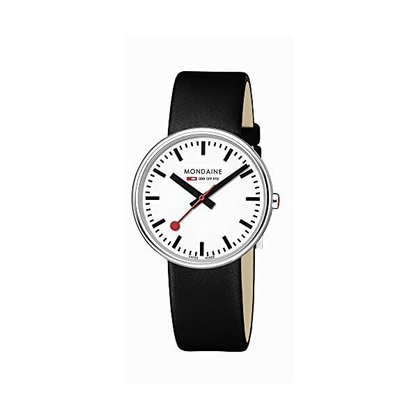 Mondaine A763.30362.11SBB - Orologio al quarzo unisex con display analogico bianco e cinturino in pelle nera 1
