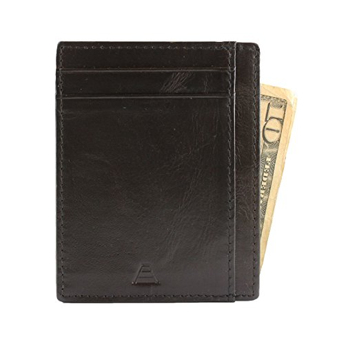 Andar RFID Minimalist Front Pocket Wallet - Made of Classy Full Grain Leather (Black) by Andar (Image #5)
