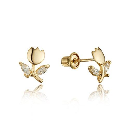 14k Yellow Gold Tulip Flower Cubic Zirconia Children Screwback Baby Girls Stud Earrings