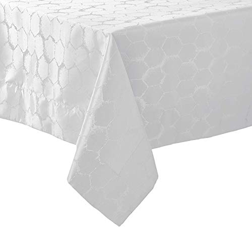 Violet Linen Premium Honeycomb Damask Seats 16 to 18 Pepole, Rectangle, Polyester Jacquard, Tablecloth 70
