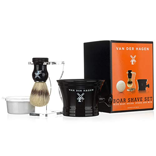 Van Der Hagen Luxury Shaving Set - Complete Mens Grooming Kit with Boar Bristle Brush, Luxury Soap, Stand and Apothecary Mug - Perfect For Wet Shaving ()