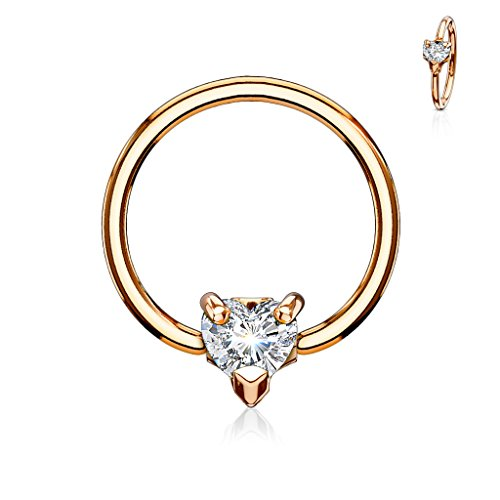 Amelia Fashion 14 Gauge Rose Gold Multi Directional CZ Heart Captive Bead Ring 316L Surgical Steel (Rose Gold & Clear)