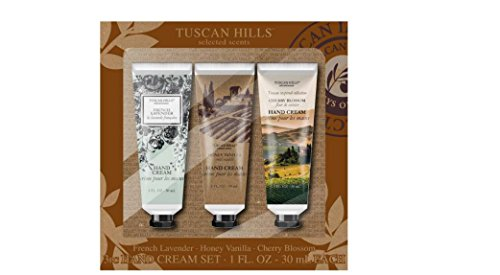 Bath Gift Set 3 Piece - Tuscan Hills Nourishing Hand Creams With 3 Luscious Scents and Bath Set (Beautiful 3 Piece Gift Set)