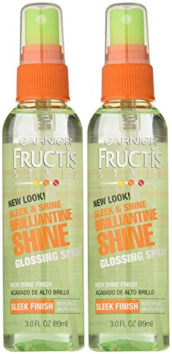 Garnier Fructis Brilliantine Shine Glossing Spray, Strong Hold, 3 oz, 2 pk