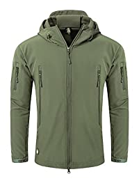 YFNT Men's Softshell Tactical Hooded Jacket Military Fleece Jacket Outdoor Coat