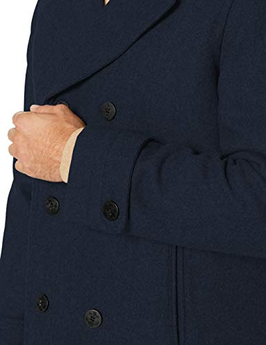Amazon Essentials Men's Double-Breasted Heavyweight Wool Blend Peacoat
