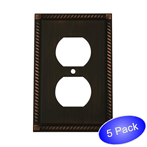 Cabinet Bronze Outlet - 5 Pack - Cosmas 88033-ORB Oil Rubbed Bronze Single Duplex Electrical Outlet Wall Plate/Cover