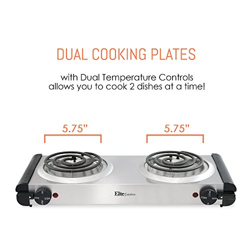 Elite Cuisine Electric Double Coil Burner Hot Plate, Stainless Steel by Maxi-Matic (Image #6)