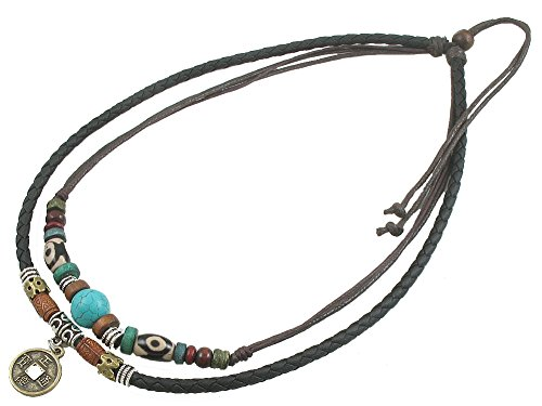 Feelontop/® Suede Choker Necklace Women Native American Indian Jewelry Bohemian Feather Handmade Leather