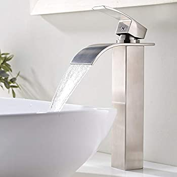 Yontree Single Handle Tall Faucet Bathroom Sink Faucet Single Hole with Hose Brushed Stainless Steel Finish Mixer Tap Tall 13.4