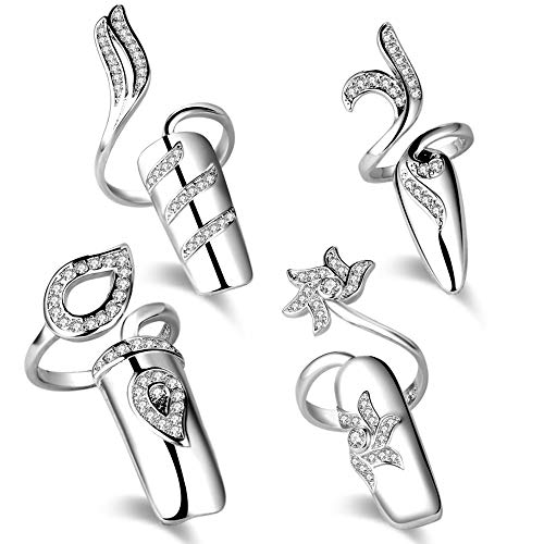 Qindishijia Fingernails Ring,Nail Art Charms Womens Retro Fashion Protecting Fingernail Nail Decoration Tip Nail Finger Ring Cute Nail(4 Pieces Combination) (Silver)
