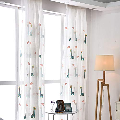 Sheer Window Curtain Panels for Living Room Country Rustic Embroidered Giraffe Rod Pocket Cartoon Window Treatment Drapes Gauze Voile Panels for Kids Boys Girls Bedroom 1 Panel AiFish W75 x L84 inch by AliFish (Image #5)