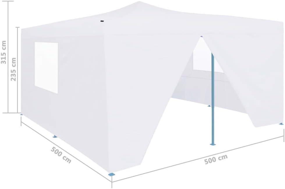 Festnight Gazebo da Giardino Gazebo Pieghevole con 4 Pareti Gazebo 5x5 m Tende Gazebo Chiuso Impermeabile Tendone da Esterno Bianco//Antracite