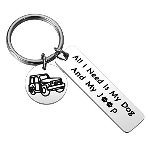 JZSTA Jeep Dog Lover Keychain Gift - All I Need is My Dog and My Jeep Keychain, Jeep Wrangler Gift for Jeep Mom Jeep Girl (I Love My Dog Keychain)