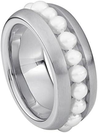 Heideman Ring Damen Series aus Edelstahl Silber farbend matt Damenring für Frauen mit echter Süßwasser Perle Weiss Perlenkette 3mm