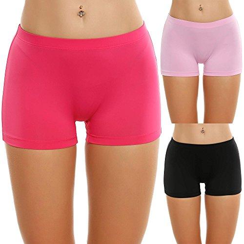 Ekouaer Solid Underwear Women Stretch Classy Boyshorts Plus Size Lingerie (Red Assorted, XXL)