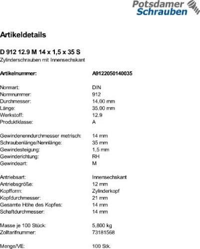 100 Inbus Zylinderkopfschrauben DIN 912 12.9 M14x1,5x35 Feingewinde