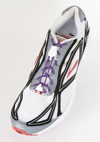 Yankz Sure Lace Round Elastic Shoe Laces, Plum with White, O
