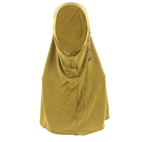 (Muslim Embroidery Mesh Headband Crystal Burlap Material Women's Headscarf Instant Convenient Shawl Head Wear Scarf MEEYA)