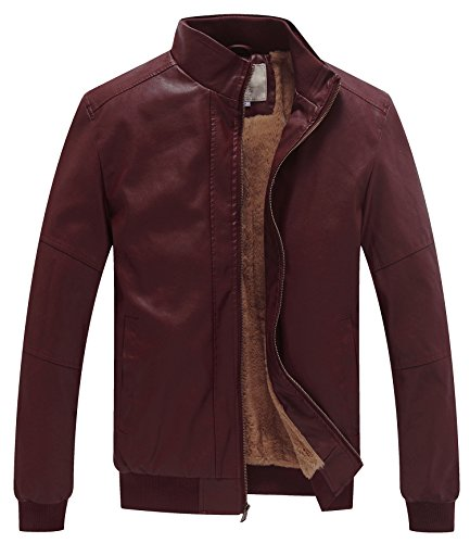 WenVen Men's Winter Fashion Faux Leather Jackets (Red Wine, Medium)