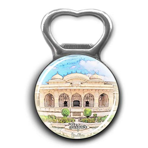 Hall of Mirrors Amber Fort Jaipur India Opener Metal Fridge Magnet Crystal Glass Round Beer Bottle Opener City Souvenir Home Kitchen Decoration Gifts